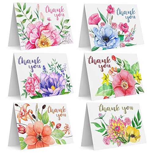Stunning Set of 36 Assorted Watercolor Hand Drawn Floral Thank You Greeting Cards with Envelopes For Baby Shower, Bridal Shower, Engagement, Wedding, Anniversary, Birthday, Graduation, -