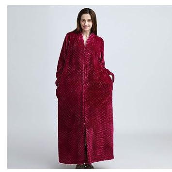 KXIN Bata De La Mujer Acolchada con Franela, Pijama Casero Cálido con Cremallera, Chaqueta De Punto De Invierno,2,XL: Amazon.es: Hogar