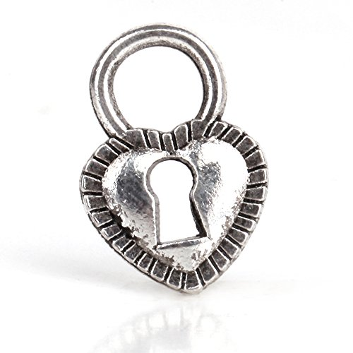 RUBYCA 50pcs Tibetan Silver Tone Spacer Beads Fit European Charms Bracelet Lock-Shaped Heart Animal Shaped Beads