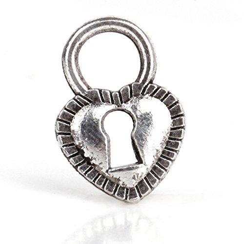 RUBYCA 50pcs Tibetan Silver Tone Spacer Beads Fit European Charms Bracelet Lock-Shaped Heart
