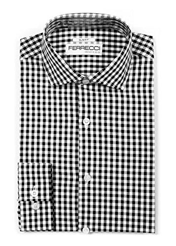 Ferrecci XL 17.5 36-37 Gingham Black Slim Dress Shirt - Gingham Check Shirt