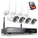 SANNCE 4-Channel Wireless Security System 1080P Video Wifi NVR with 1TB Surveillance Hard Disk and (4) 1.0MP Network Weatherproof Cameras with IR-cut Night Vision,Motion Detection and Email Alert