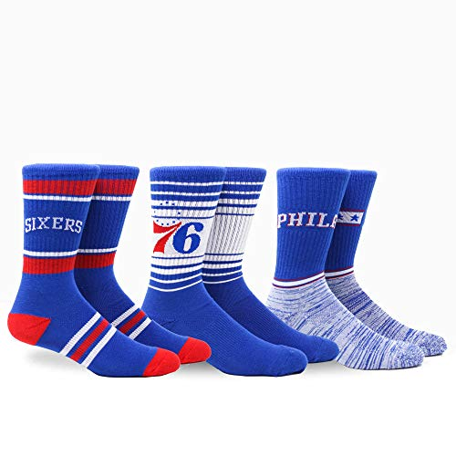 PKWY by Stance NBA Men's Team 3-Pack Socks (Large, Philadelphia 76ers)