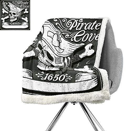 ScottDecor Pirate Throw Blanket,Pirate Cove Flag Year of 1650 Vintage Frame Crossbones Floral Swirls Hat Heart,Black White Grey,Sofa,Soft Cozy W59xL31.5 - Hamper Cove Pirates