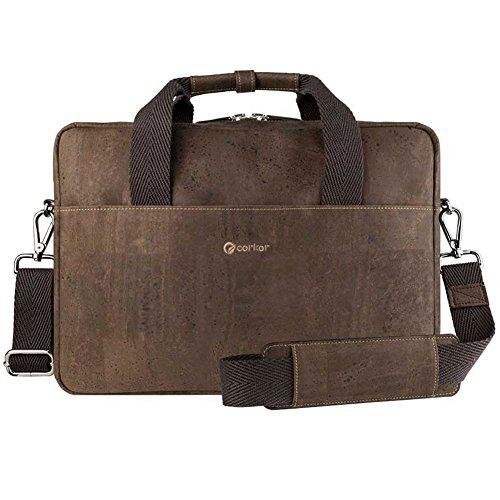 Corkor Vegan Briefcase Handbag Shoulder Messenger Bag Men Non-Leather Cork Brown Color by Corkor