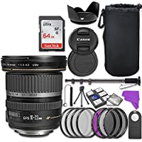 Canon EF-S 10-22mm f/3.5-4.5 USM Lens Bundle with Accessory Kit (17 items)