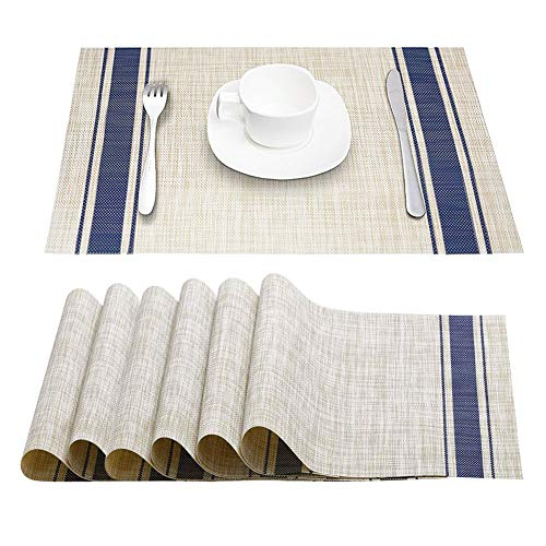 (STONE DRUM Placemats, Heat-Resistant Stain Resistant Anti-Skid Washable PVC Table Mats Woven Vinyl Placemats for Dining Table, Set of 6  (O Blue))