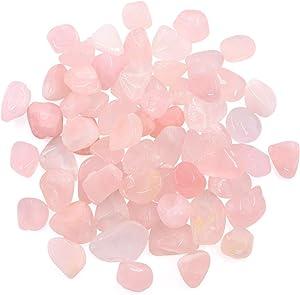 Hilitchi 1lb Bulk Large Natural Tumbled Polished Brazilian Stones Gemstone Healing Crystals Quartz for Wicca, Reiki, and Energy Crystal Healing (Rose Quartz About 1lb/450g/16oz/bag)