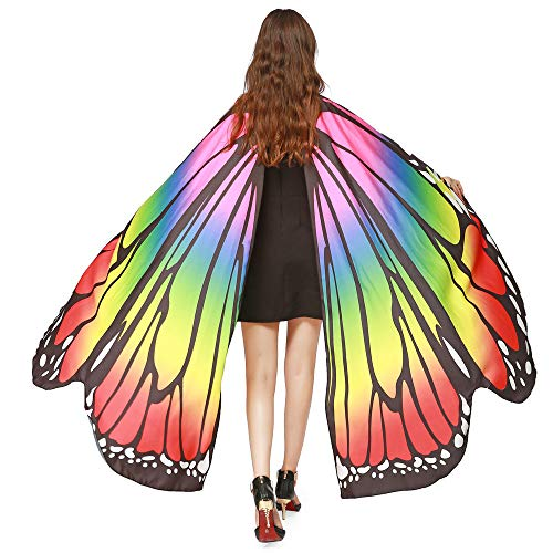 ASfairy Butterfly Wings Shawl Scarves, Women Cape Scarf Fairy Poncho Wrap Pixie Poncho Halloween Costume Accessory (Multicolor)