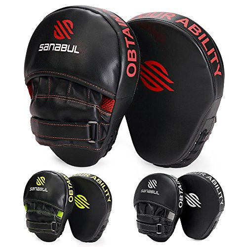 Sanabul Essential Curved Boxing MMA Punching Mitts (Black/Red) ()