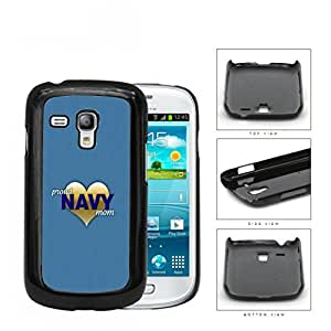 Proud Navy Mom with Gold Heart and Teal Blue Background Samsung i8190 Galaxy S3 (MINI) Hard Snap on Plastic Cell Phone Case Cover