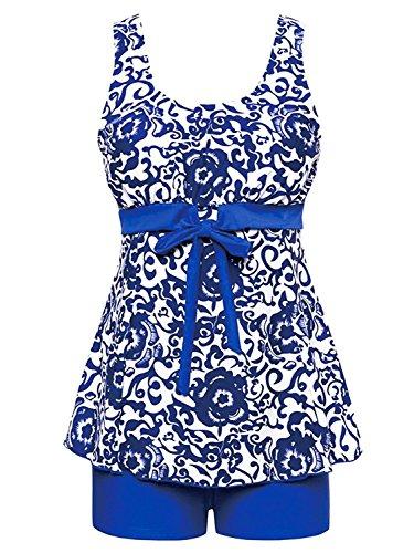Liseaforu-Womens-Flower-Print-Swimdress-Two-Piece-Swimsuit-Plus-Size-With-Boyshort