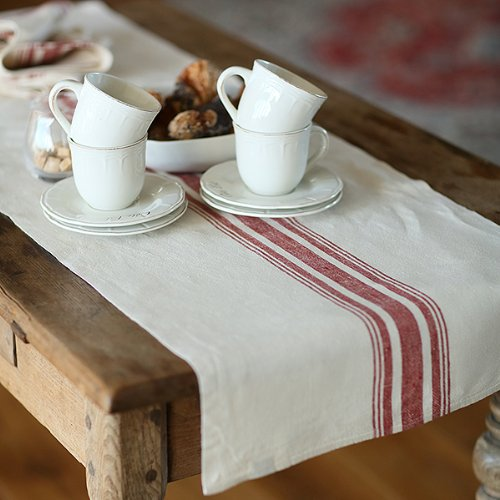 Christmas Tablescape Decor - Old World Cream & Red Striped Linen Table Runner by LinenMe