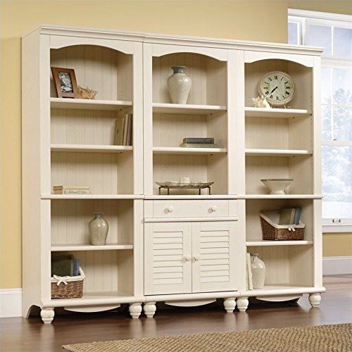 - Sauder Harbor View 3 Piece Library Wall Bookcase in Antiqued White