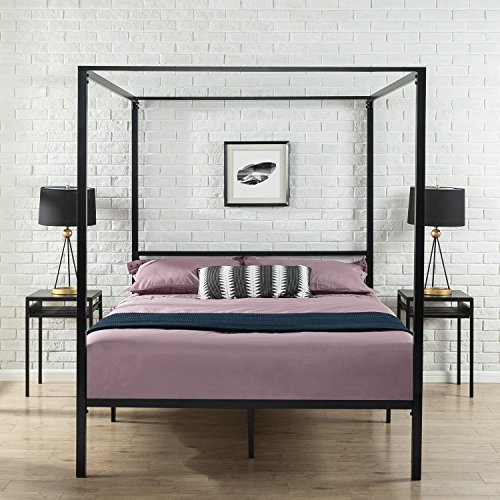 timeless design 1b4a8 1b580 Zinus Patricia Metal Framed Canopy Four Poster Platform Bed Frame / Strong  Steel Mattress Support / No Box Spring Needed, Queen