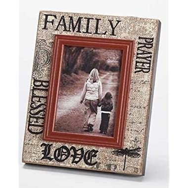 Family Blessed Love Prayer 5x7 Burlap Design Wood Picture Frame
