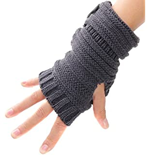 HuntGold Damen Winter Strick Weiche Lange Hirsch Muster Warme Fingerlose Handschuhe