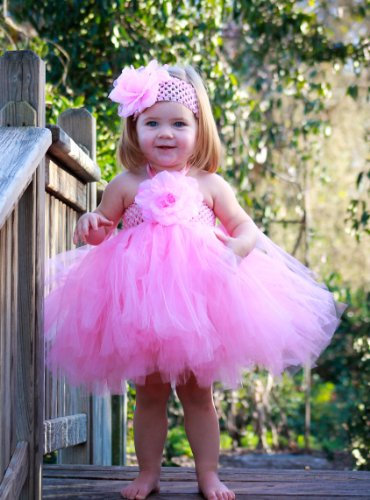 [Baby Tutu Costumes with Matching Silk Flower Headband Set (Small Newborn - 2 Years)] (Ballerina Costumes For Toddler)