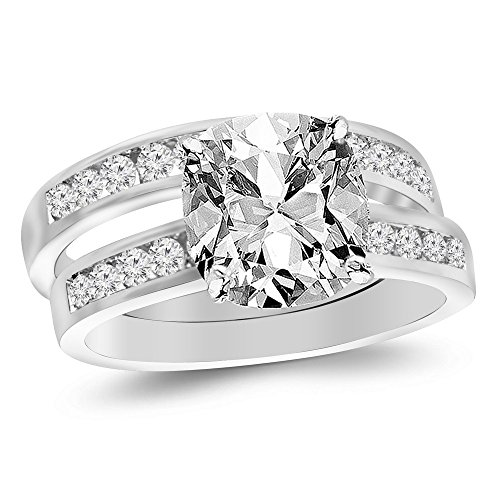 14K White Gold 1.21 CTW Classic Channel Set Wedding Set Bridal Band & Diamond Engagement Ring w/ 0.51 Ct GIA Certified Cushion Cut I Color VS1 Clarity Center by Houston Diamond District