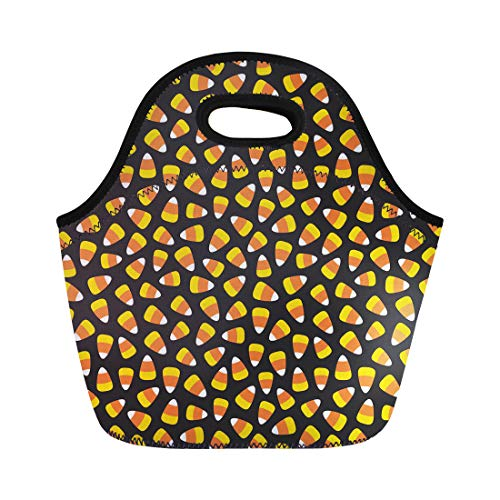 Semtomn Lunch Tote Bag Orange Autumn Candy Corn Pattern Halloween Yellow Treat Trick Reusable Neoprene Insulated Thermal Outdoor Picnic Lunchbox for Men Women ()