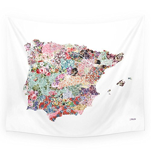 Society6 Spain Map Flowers Composition Wall Tapestry Small: 51'' x 60'' by Society6