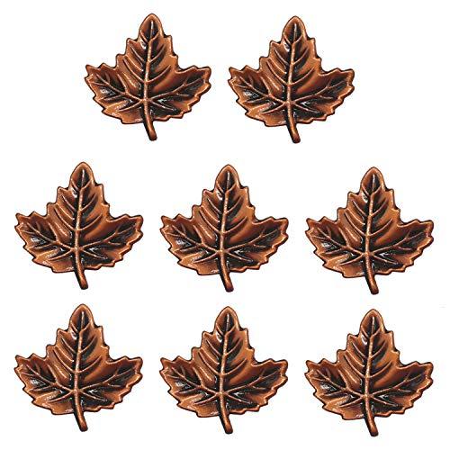 WEICHUAN 8-Pack Zinc Alloy Red Copper Maple Leaf Shape Decorative Cabinet Wardrobe Furniture Door Drawer Knobs Pulls Handles Hardware Décor