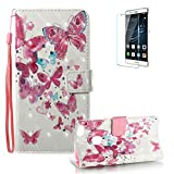 Huawei P10 Lite Case [with Free Screen Protector], Funyye Premium New 3D Folio PU Leather Wallet Magnetic Flip Cover with [Wrist Strap] and [Colorful Printing Painting] Stylish Book Style Full Body Protection Holster Case for Huawei P10 Lite