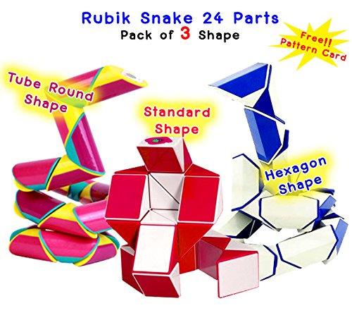 Rubik Twist Snake 24 Parts (Wedges) Set of 3 Shape Standard + Tube Round + Hexagon Shape Big Size with Free Pattern Cards- Random Color.