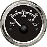 KUS Marine Oil Pressure Gauge Boat Car RV Engine Outboard Electric Pressure Gauge 0-10Bar 52mm 12/24V Black