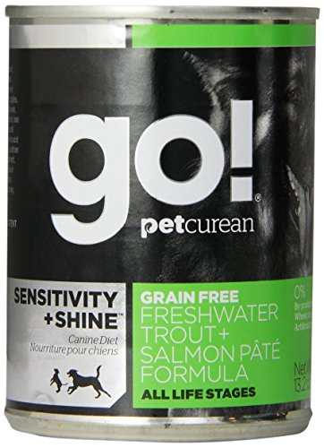 PETCUREAN 152034 12-Pack Go Sensitivity and Shine Grain Free Trout/Salmon Pate Can for Dog, 13.2-Ounce