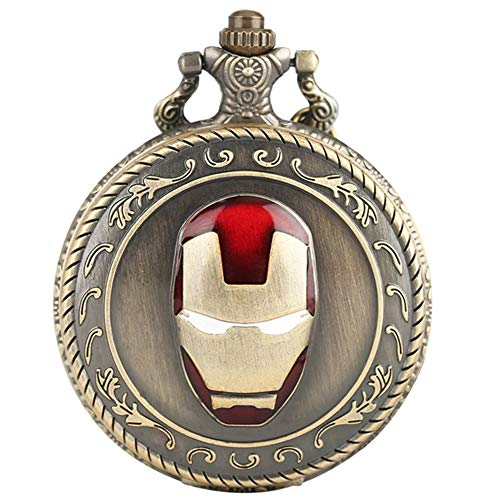 Cool Super Hero Iron Man 3D Helmet Pocket Watch for Boy Children Kids Men Gifts Necklace with Chain Pendant from KDJSTORE