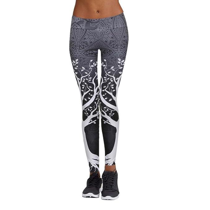 JiaMeng Mujer Pantalones Largos Deportivos Patrón de árbol Leggings para  Running 99f7c4a2963b