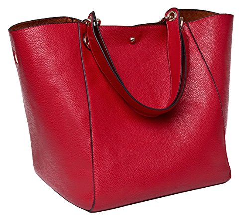 Tibes Fashion Waterproof Shoulder Bag Synthetic Leather Purse and Handbag Red by TIBES