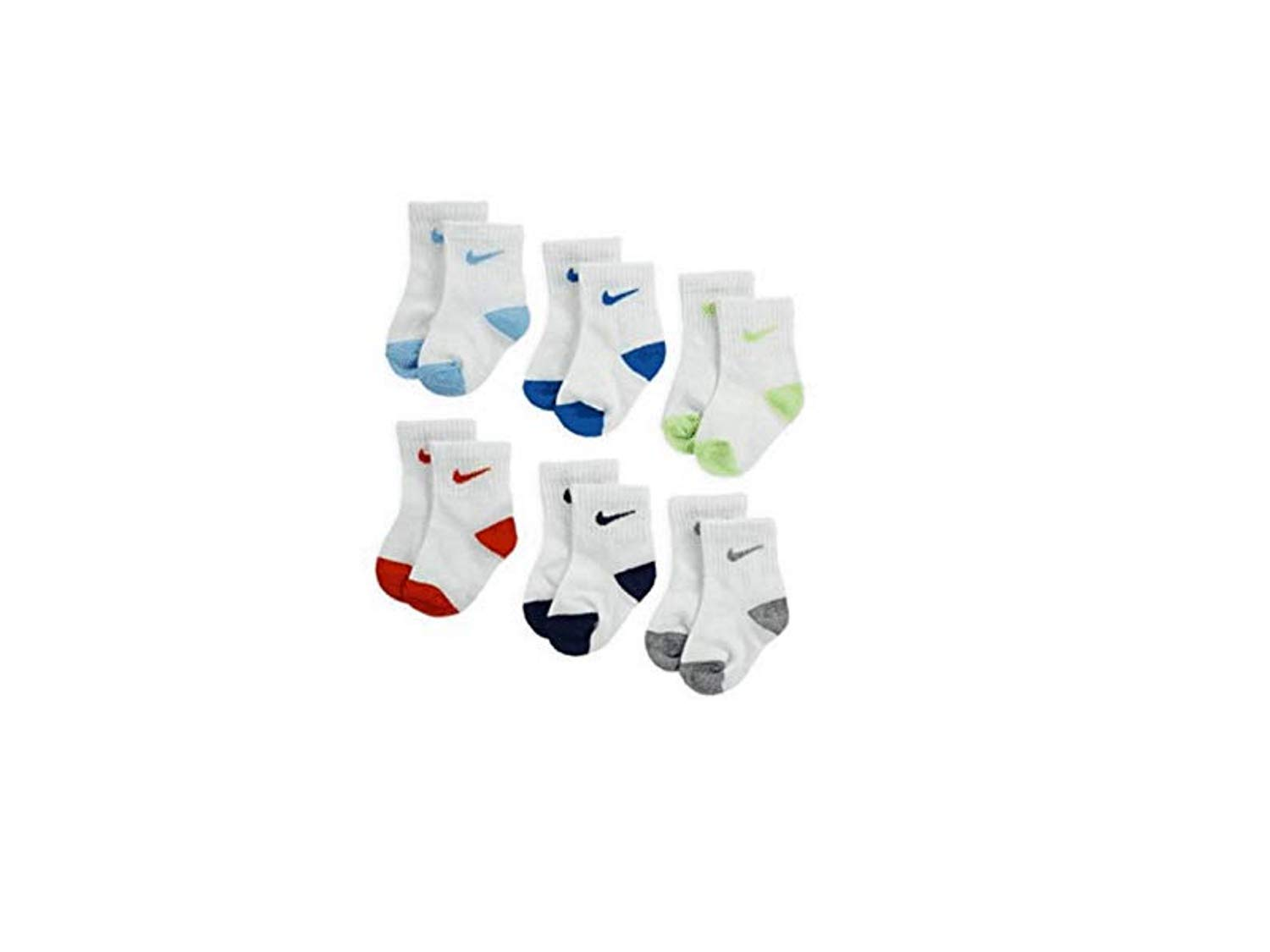 Nike Young Athletes Kids 6-Pair Ankle Socks Shoes 10C-13CY/5-7 (Sock Size)