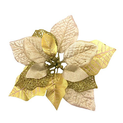 Christmas Poinsettias - M2cbridge Pack of 6 Glitter Artificial Wedding Christmas Flowers Red Glitter Poinsettia Christmas Tree Ornaments Dia 9 Inch (Golden)