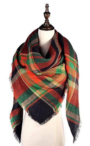 Lamamamas Plaid Blanket Scarf Warm Cozy Tartan Wrap Shawl Winter Scarfs for Women (Yellow & Green)