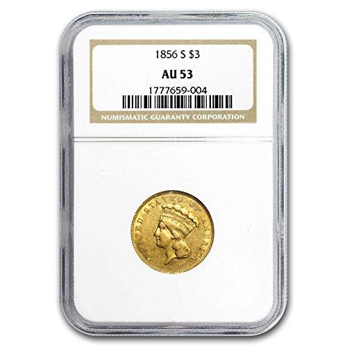 1856 S $3 Gold Princess AU-53 NGC Gold AU-53 NGC