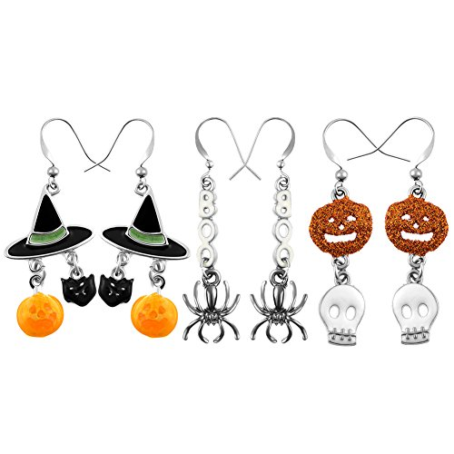 Halloween Jewelry (Miraculous Garden 3 pairs Halloween Drop Dangle Earrings Sets Spider Boo Pumpkin Skelonton Wizard Hat Hook Earrings Set for Women Girls (3PCS))