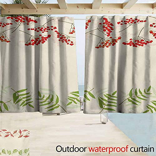 (AndyTours Outdoor Patio Curtains,Rowan Graphic Border Design Berries Mountain Ashes Botanical Nature Themed,Outdoor Privacy Porch Curtains,W55x63L Inches,Vermilion Ivory Fern Green)