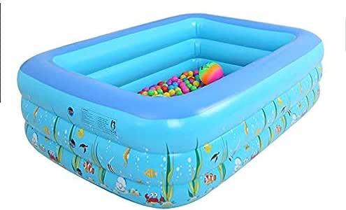 Estructura fácil de colocar piscina salón familiar piscina infantil inflable rectangular 130 * 90 * 55 azul, niños, adultos, patio trasero, interior y exterior, enviar bomba eléctrica inflable: Amazon.es: Jardín
