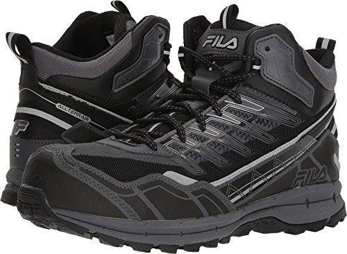 Fila Mens Boots - Fila Men's Hail Storm 3 Mid Composite Toe Trail Work Shoes Hiking, Castlerock/Black/Metallic Silver, 9 D US