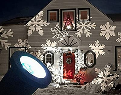 AlphaMY Waterproof Indoor Outdoor Automatically LED Moving White Snowflake Spotlight Lamp Halloween Christmas Holiday Decor Garden Landscape Decoration Projector Light