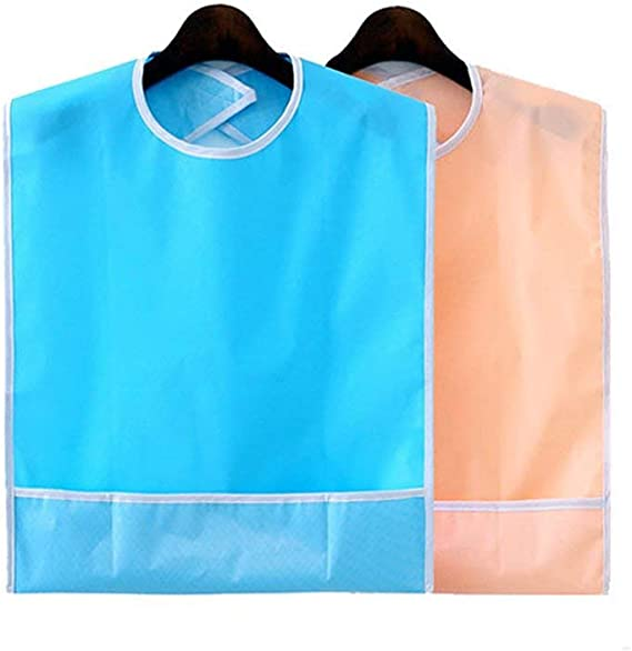 2 baberos impermeables para adultos, reutilizables (azul cielo + naranja rosa) de Qpower