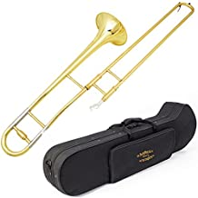 Glory GTD-2 B Flat Brass Trombone with Case & 12C Mouthpiece,Gold Finished,Alto Trombone