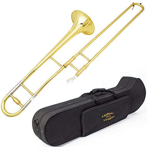 Glory GTD-2 B Flat Brass Trombone with Case & 12C Mouthpiece,Gold Finished,Alto Trombone