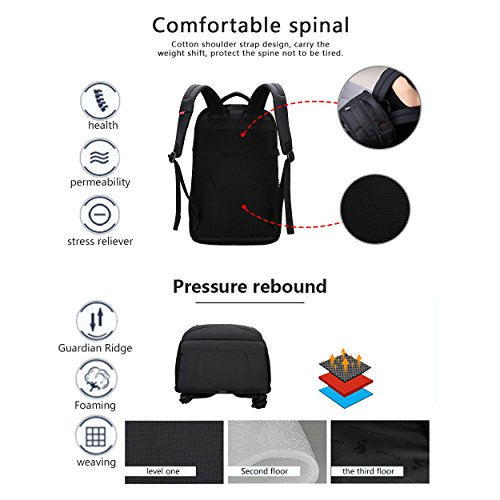 Anti Theft Blue Resistant Black Computer Backpack Bags School OIWAS Business 6 15 inch Fits Backpack Water Under Laptop Travel RxTq7wO