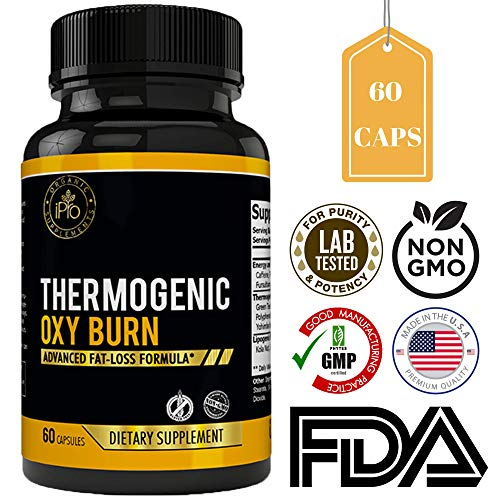 iPro Organic Supplements Oxy Burn 60 Capsules Fat Burner for Women, CLA Thermogenic Diet Pills, Fast Weight Loss, Lose Belly & Waist, Pure Carb Block, Appetite Suppressant, Natural Dietary Veggie Caps