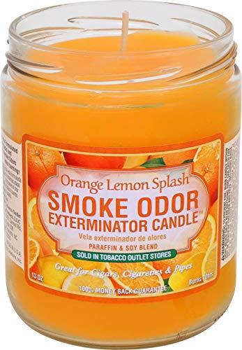 Smoke Odor Exterminator Candle Orange Lemon Splash 13 oz - 70 Hours of Burn Time Enzyme Based Formula Very effective at ridding a space of other odors - living-room-decor, living-room, candles - 51wbIhljZHL -