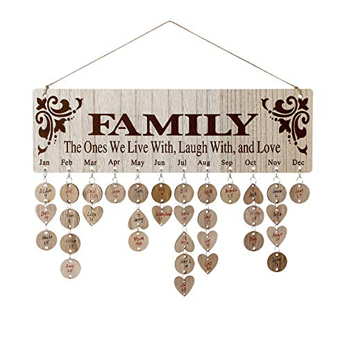 Joy-Leo Gifts for Moms Dads - Wooden Family Birthday Reminder Calendar Board [100 Wood Tags With Holes / Family with Sayings Pattern ], Laser Engraved, Not Printed, Decorative Birthday Tracker Plaque Wall Hanging