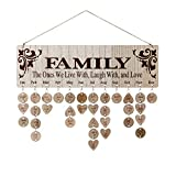 Joy-Leo Wooden Family Birthday Reminder Calendar Board [100 Wood Tags with Holes/Family Pattern ], Decorative Birthday Tracker Plaque Wall Hanging